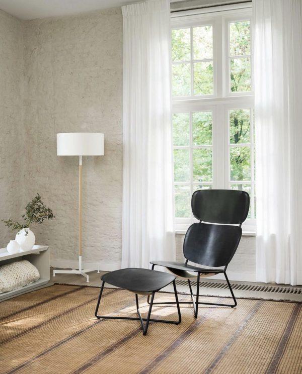 functionals lounge stoel miller high zwart leer door-serener