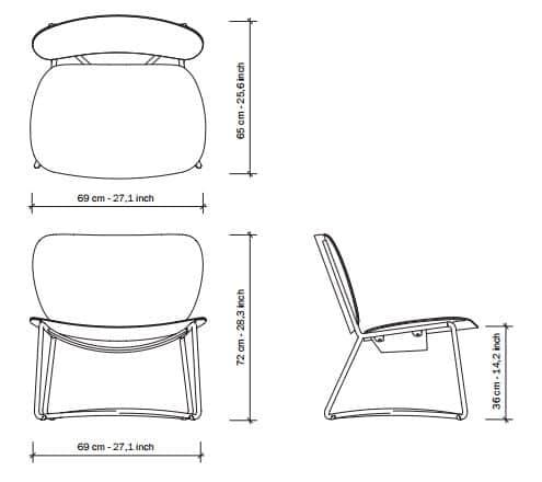 Miller Lounge Chair Fauteuil Serener functionals afmetingen