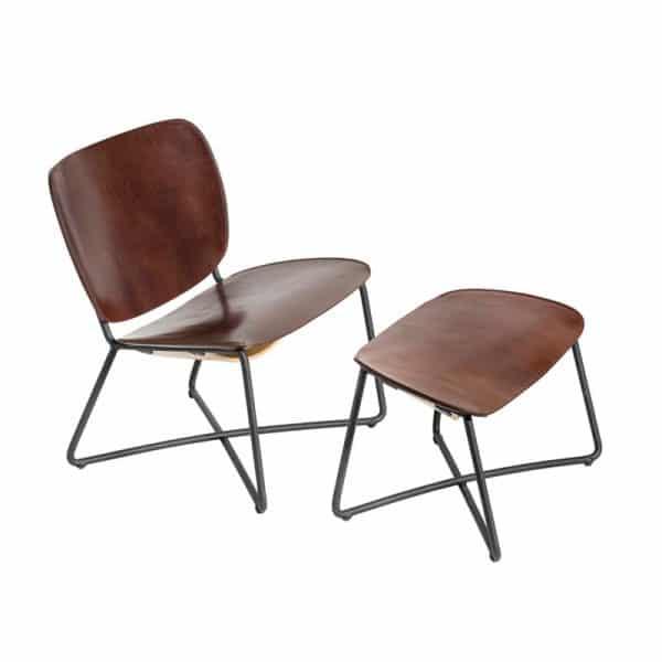 miller Lounge Chair fauteuil Serener functionals donker bruin zwart ottoman