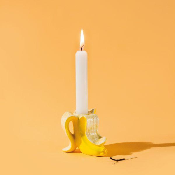 Bananen kaars kandelaar geel donkey