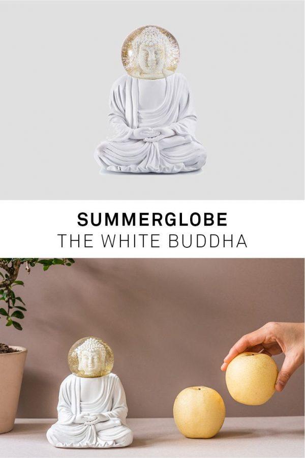 Buddha glitter sneeuwbol donkey wit
