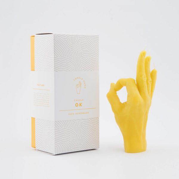 geschenkverpakking candlehand ok geel