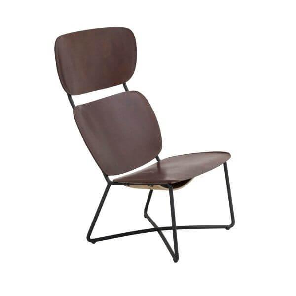 miller lounge chair high donker bruin zwart frame functionals