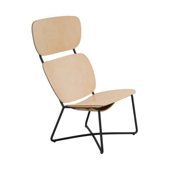 miller lounge chair high naturel zwart frame functionals