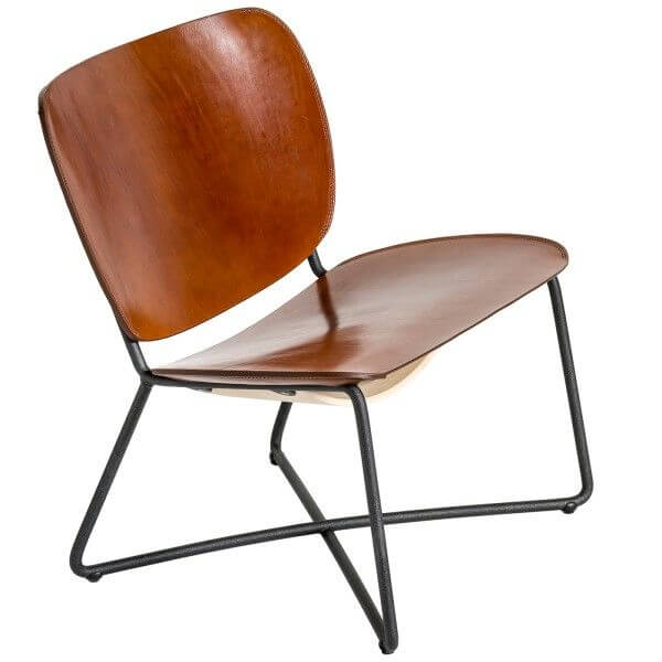 functionals Miller Lounge Chair zwart frame cognac