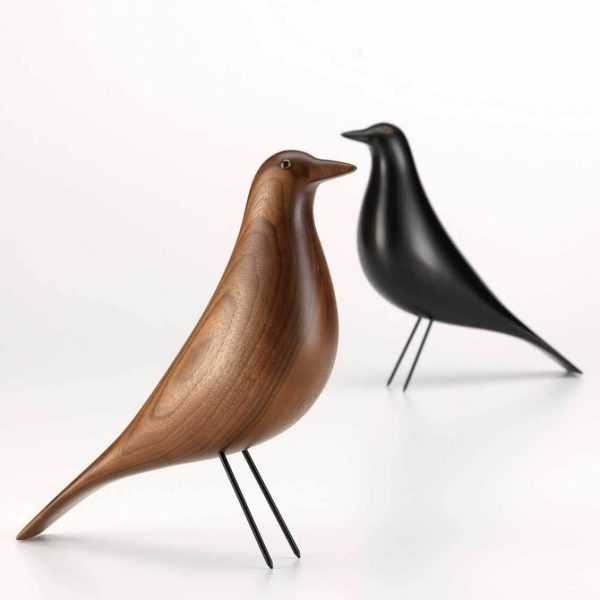 vitra housebird zwart en walnoot