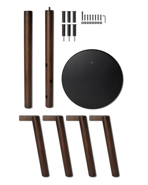 umbra pillar kapstok met krukje donker hout zwart