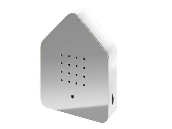 zwitscherbox huis met vogelgeluiden grijs-wit