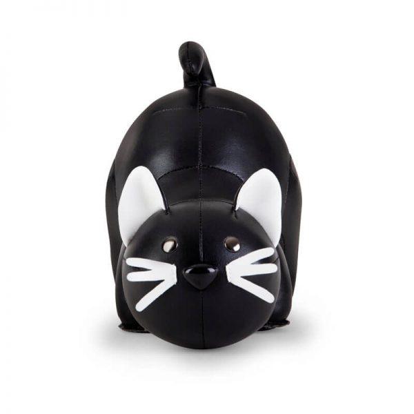 vooraanzicht zwarte kat boekensteun