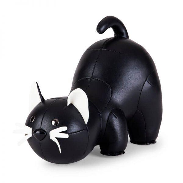 zwarte kat boekensteun kunstleer