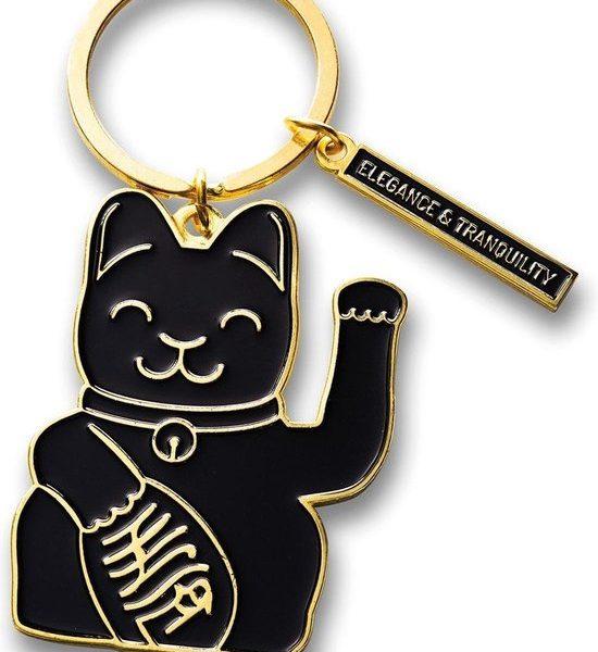 sleutelring luckycat zwart