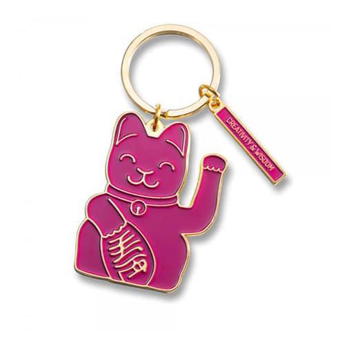 luckycat sleutelring paars